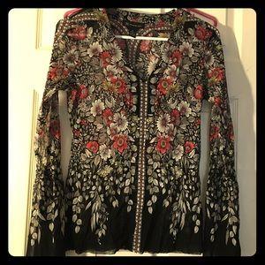 Sheer INC small flowered, bell sleeved shirt